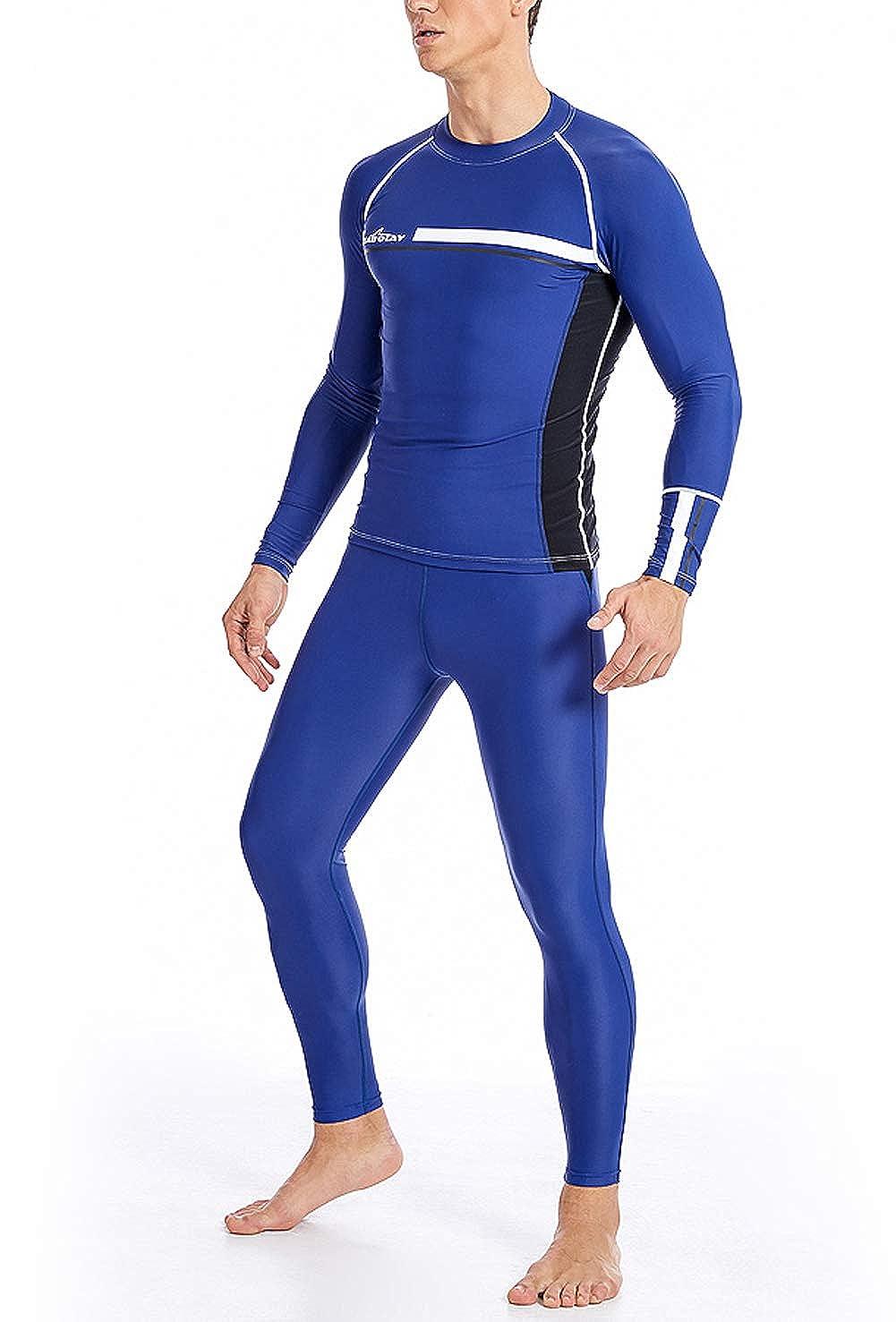 SABOLAY Men Long Sleeve Rashguard Shirts Breathable UPF 50 Quick Dry Swimwear