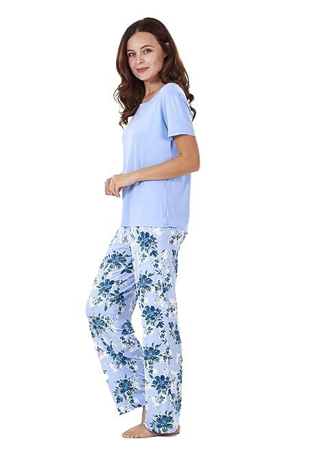 f24e7f26b7 Ladies Soft Pyjama Set Womens Short Sleeve Floral Loungewear Spots Nightwear   Amazon.co.uk  Clothing