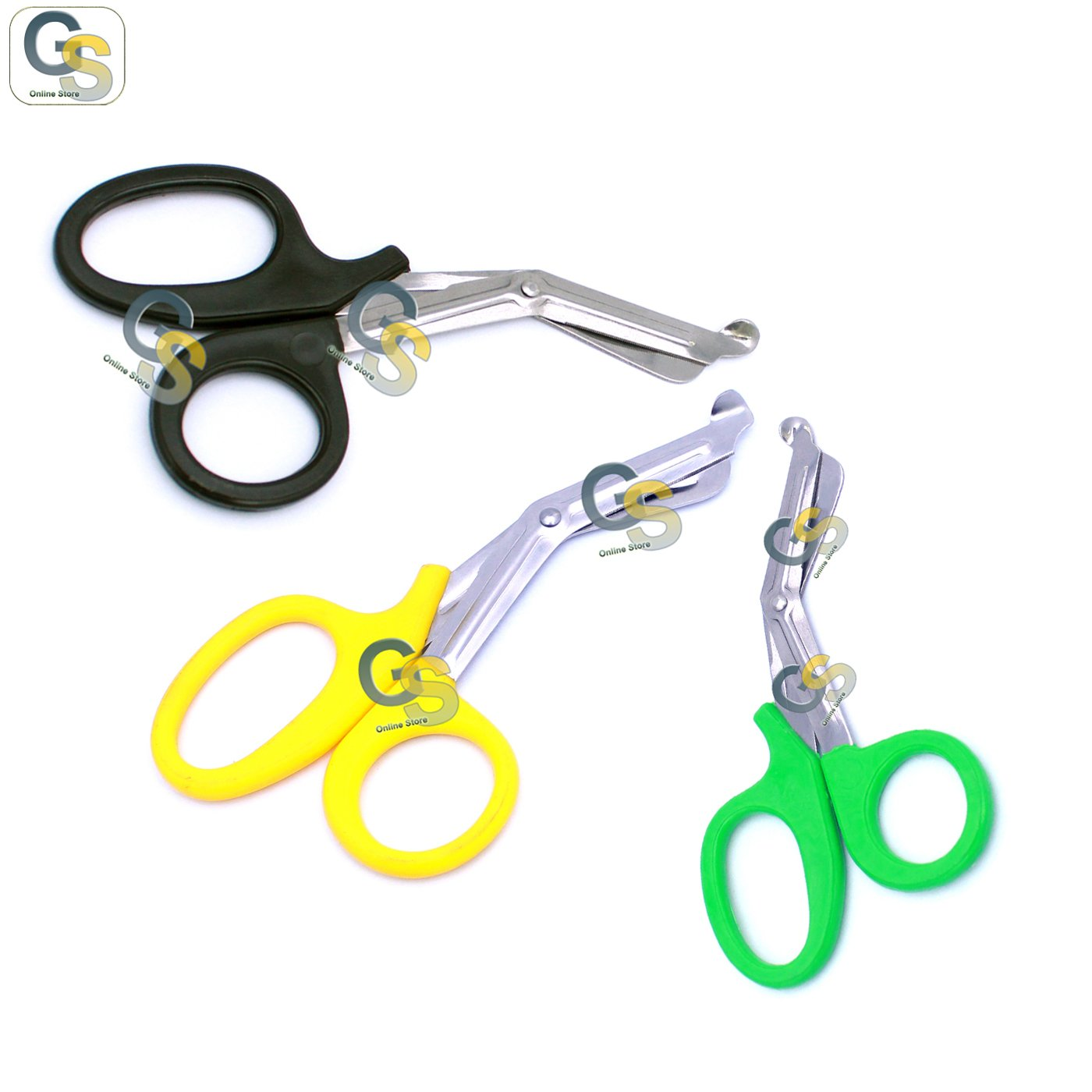 G.S 3 PCS (BLACK & YELLOW & GREEN) PARAMEDIC UTILITY BANDAGE TRAUMA EMT EMS SHEARS SCISSORS 7.25 INCH STAINLESS STEEL