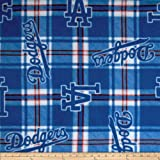MLB Fleece Los Angeles Dodgers Plaid Blue Fabric By The Yard