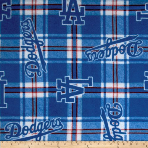(Fabric Traditions 0337365 MLB Fleece Los Angeles Dodgers Plaid Blue Fabric by The Yard,)