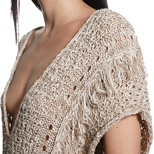JUANA LA LOCA AND THE VICTORIANS - Mujer chaleco de punto con flecos tricot jersey sin mangas capa anudada sueter CRUDO
