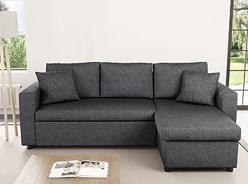 en soldes 33795 88d7a Usinestreet Canapé d'Angle Réversible et Convertible avec Coffre en tissu  gris MARIA