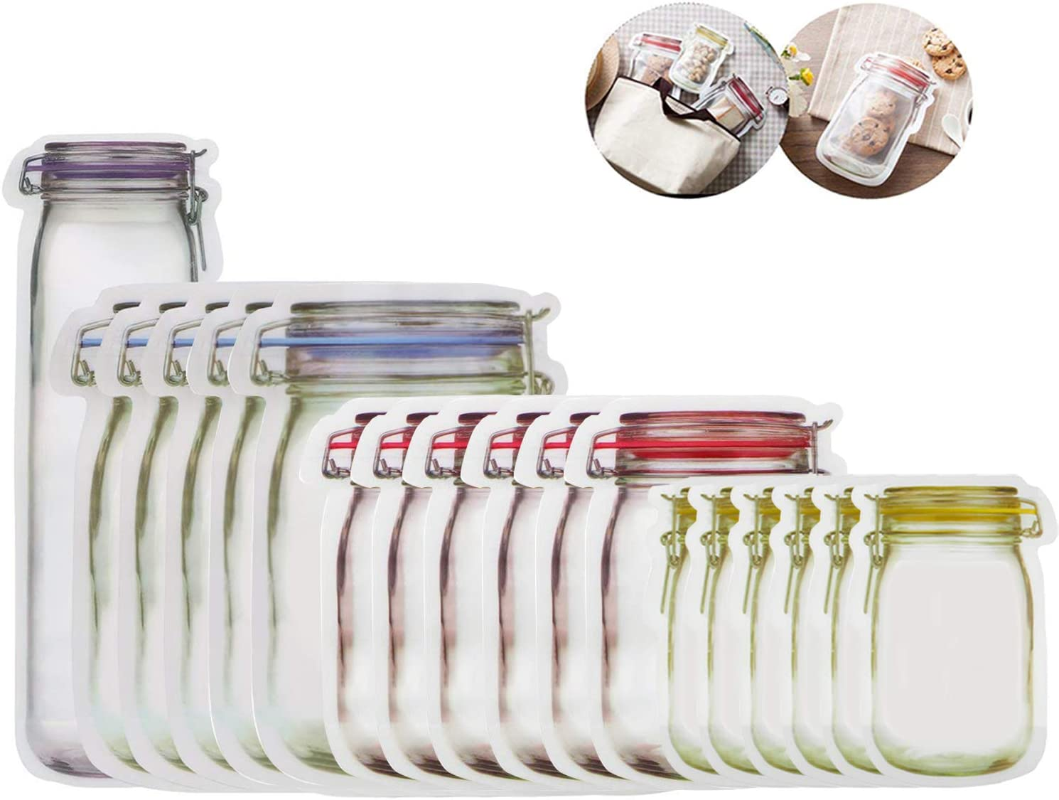 18pcs Mason Jar Zipper Bags,Food Storage Snack Sandwich Ziplock Bags,Reusable Airtight Seal Food Storage Bags,Leakproof Food Saver Bags for Travel Camping and Kids (Tallx1+Lx5+Mx6+Sx6)