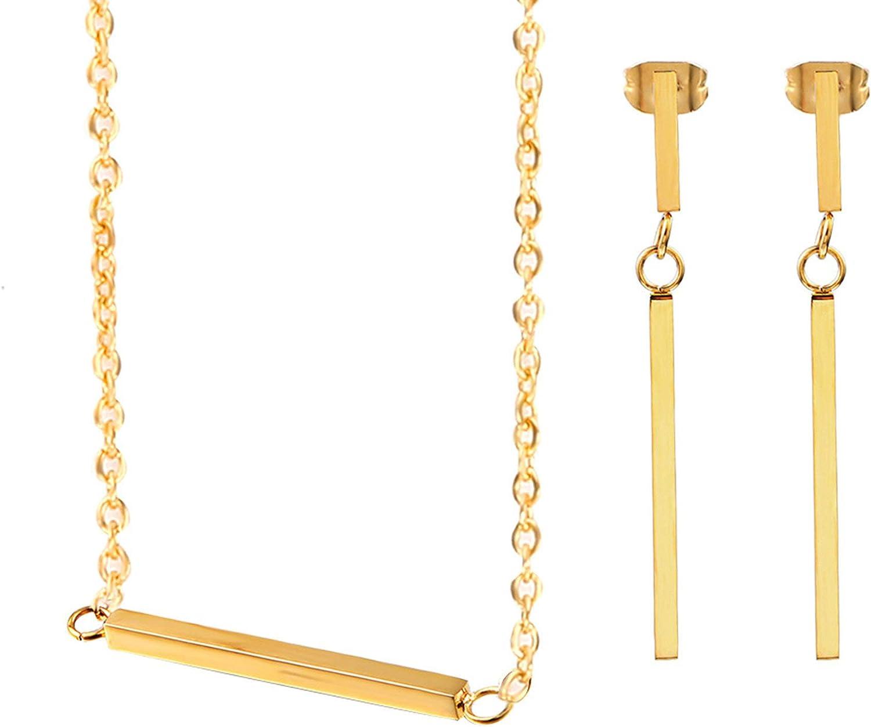 AnazoZ Conjunto Mujer Elegante Pendientes Collar Barra Larga Conjunto de Joyas para Mujer Oro/Plata