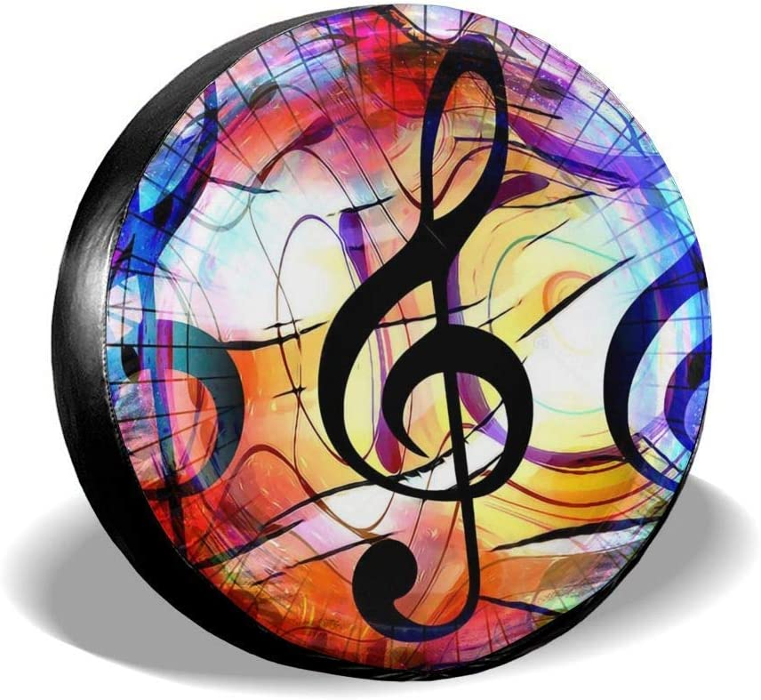 Belleeer Spare wheel cover Music Note and Clef in Space with Stars Wheel Cover with PVC Leather Waterproof Dust-Proof Fit for Jeep Trailer RV SUV Camper and Vehicle
