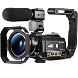 """Ordro AC3 4K Camcorder HD Digital Video Camera 1080P 60FPS Infrared Night Vision 3.1"""" IPS Screen with Microphone, Wide…"""