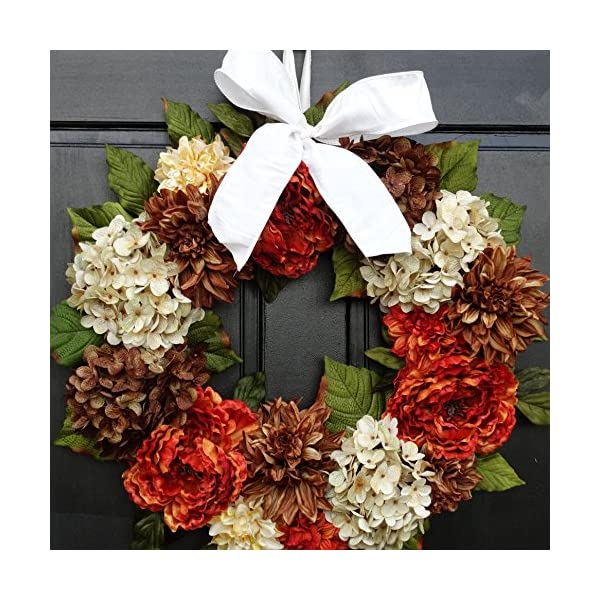 Large Peony, Dahlia and Hydrangea Wreath for Fall Thanksgiving Front Door Decor; Brown, Cream, Orange Rust; 24 Inch