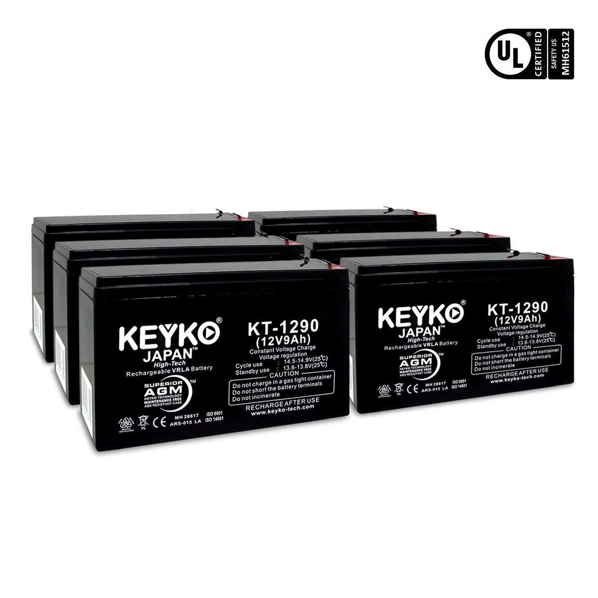 XS1500 APC RCB109 APC BACK-UPS 12V 9Ah / REAL 9.0 Amp Battery PS-1290 AGM / SLA Sealed Lead Acid Rechargeable Genuine KEYKO - F2 Terminal - 6 Batteries