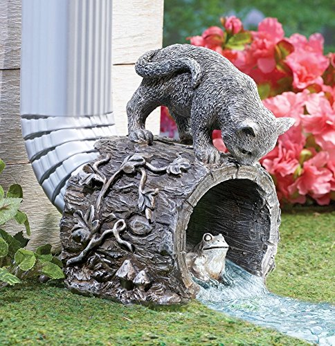 Cute Playful Chasing Kitty and Frog Decorative Downspout Extension Outdoor Yard Decor By CTD (Playful Frogs)