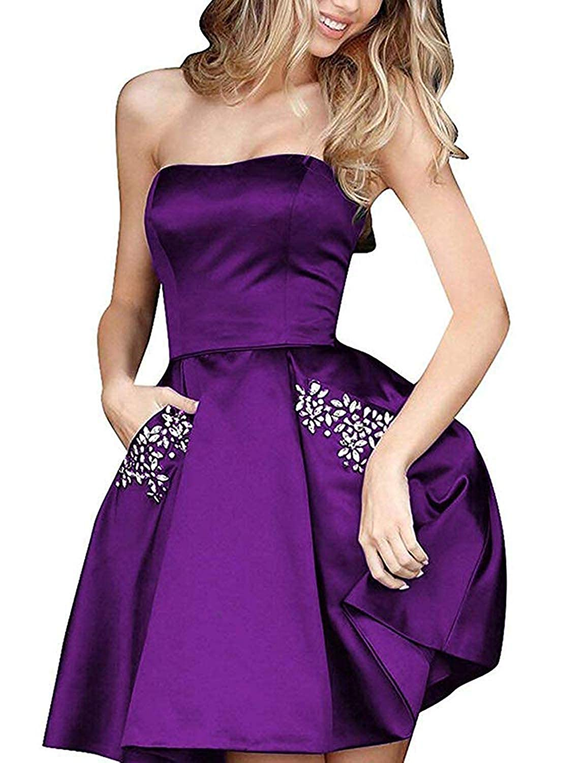 Dark Grape TTYbridal Strapless Beaded Homecoming Dresses Short Satin Cocktail Prom Gown with Pockets HD3