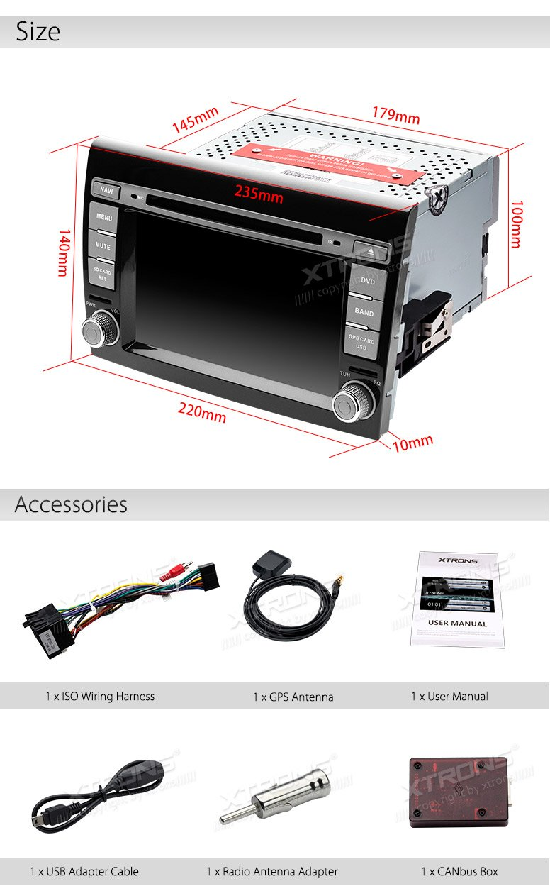 XTRONS 7 Inch HD Digital Touch Screen Car Stereo In-Dash DVD Player with GPS CANbus Screen Mirroring for FIAT Kudos Map Card Included by XTRONS (Image #1)