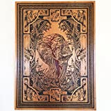 Vintage Medical Art Drawing of Human Anatomy on Wood