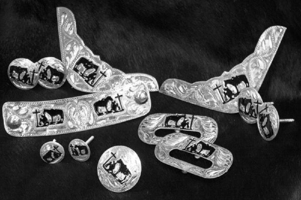 12 Piece Engraved Praying Cowboy Silver Trim Kit Saddle Silver Set Includes Necessary Hardware for Installation by Shiloh