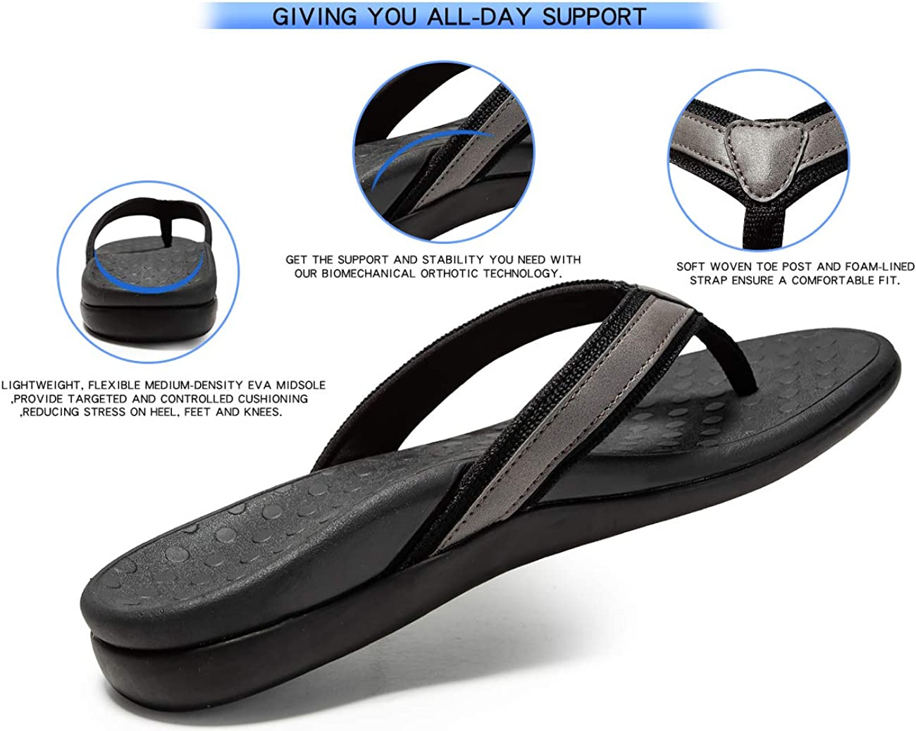 SOARFREE Plantar Fasciitis Feet Sandal with Arch Support - Best Orthotic flip.: Shoes