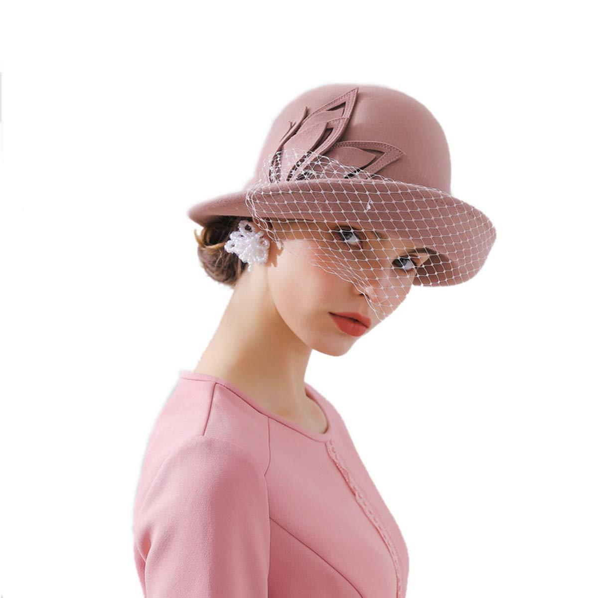 Women's Wool Felt Cloche Hats Wide Brim Basin Cap Ladies Derby Cloche Hat with Fancinator Autumn Winter FW023073-Black