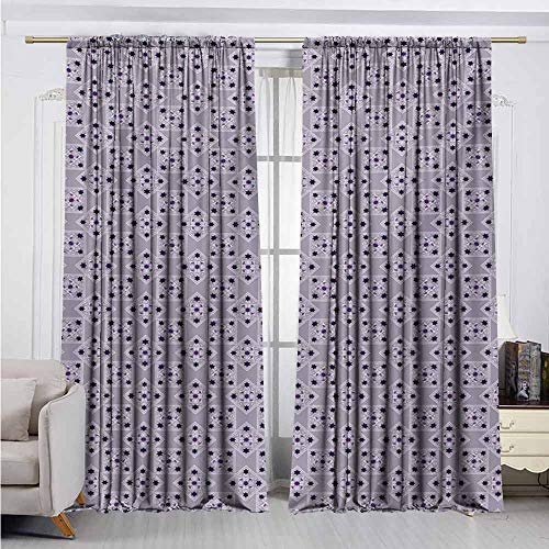 Alston Bertha Vintage Shading Insulated Curtain Ornamental Swirls and Stars in Rhombuses Pastel Colored Illustration Soundproof Shade W52 x L72 Inch Lilac Purple Dark Purple