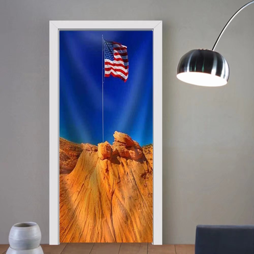 Gzhihine custom made 3d door stickers American Flag in Grand Canyon Usa Fabric Home Decor For Room Decor 30x79