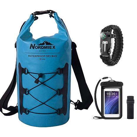2e1d996569d9 Nordmiex 20L Waterproof Dry Bag - Backpack Waterproof Phone Case Survival  Bracelet for Kayaking Boating