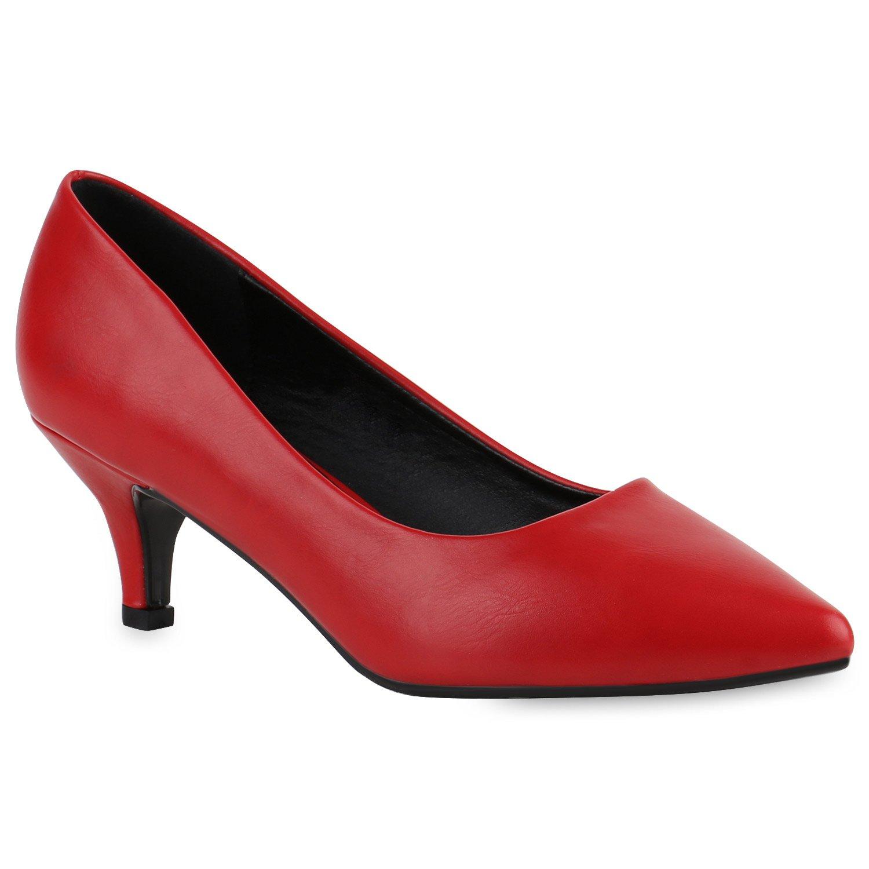 Stiefelparadies Damen Klassische Pumps mit Pfennigabsatz Glitzer Strass Flandell Rot Glatt