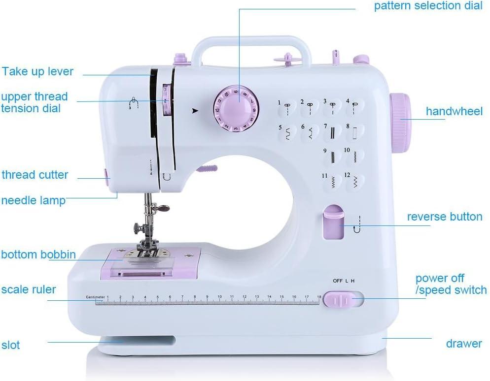 Zerone - Máquina de coser eléctrica multifunción portátil ...