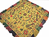 NovaHaat Straw Yellow Kutch Embroidery Tapestry - Vintage Huge Ethnic Indian Wall Hanging with Ganesha, Lakshmi and Peacock Motifs and Mirror Work ~ 78'' x 75''