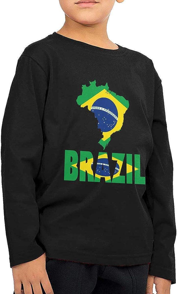 CERTONGCXTS Toddler Brazil Map Flag ComfortSoft Long Sleeve Tee