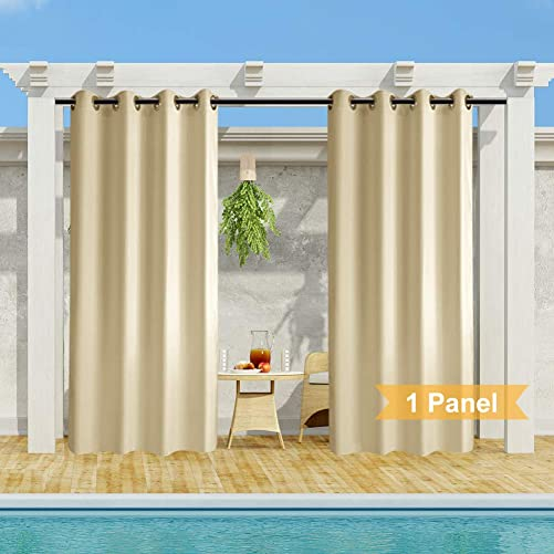 HGmart Outdoor Patio Curtains Waterproof Windproof,Rustproof Grommet Porch Decor Privacy Thermal Insulated Curtain for Outdoor Porch Pergola Cabana Sun Room Deck,Beige,1 Panel,50×84