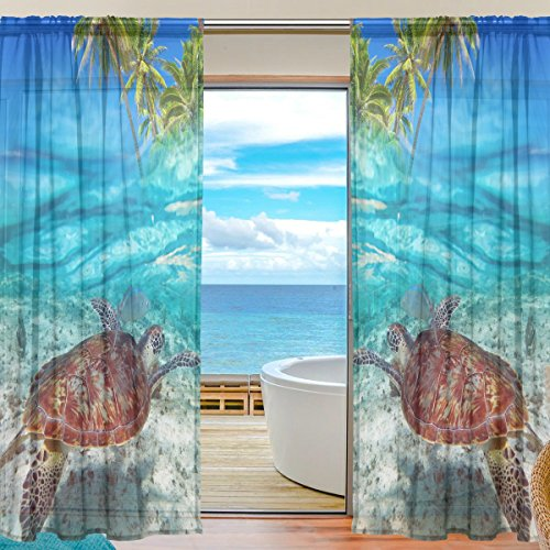 ALAZA Sheer Curtain Tropical Beach Sea Turtle Voile Tulle Window Curtain for Home Kitchen Bedroom Living Room 55x84 inches 2 panels -
