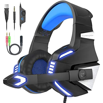 VersionTECH Gaming headset for Xbox One PS4 PC,USB Headphones with  Microphone,LED Light & Noise Cancelling & Surround bass Stereo for 3DS  Nintendo