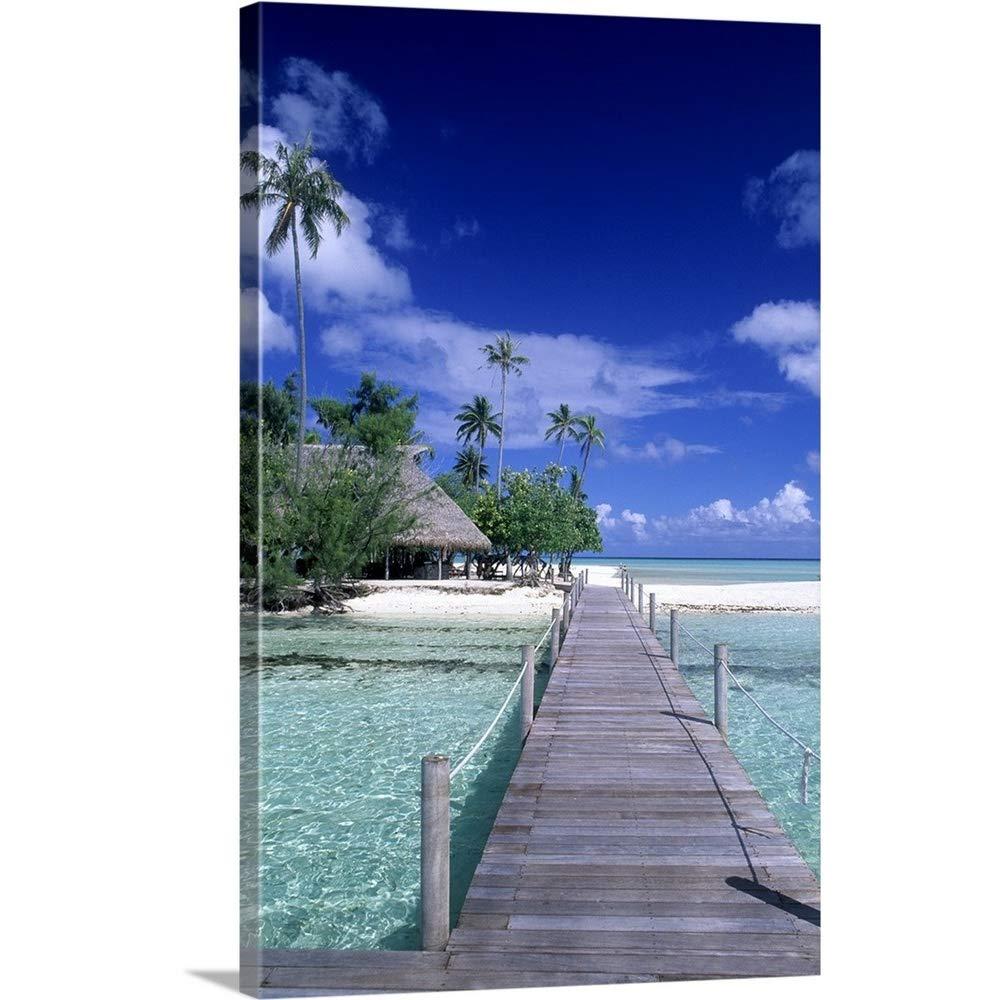 ジョンBachmannプレミアムシックラップキャンバス壁アート印刷題名Wooden Walkway Over水で美しいタヒチ、ボラボラ、French Polynesia 20