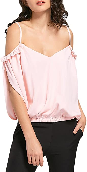 HX fashion Camiseta Mujer Elegantes Verano V Cuello Hombros ...