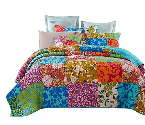 Tache Home Fashion Power Party Colorful Floral Patchwork Quilt Bedspread Set, Queen, Green/Blue/Pink/Yellow