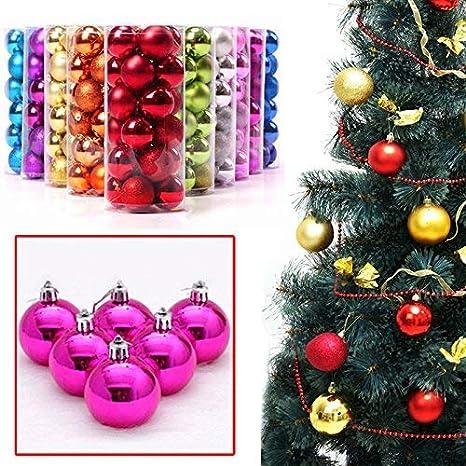 Silver FRECI 24pcs Christmas Ball Baubles Glitter Hang Balls Pendant for Xmas Tree Decoration