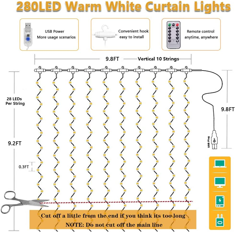 Multicolor 3x2.8m 280 LED 8 Modes Fairy Lights with Hook Remote Control USB Powered Waterproof Copper Wire Decor Lights for Christmas Bedroom Party Wedding Home Curtain String Light