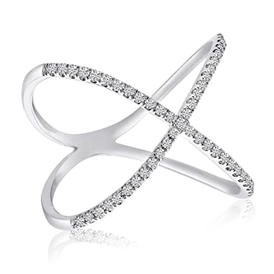 Amazon 14k White Gold Diamond X Shape Fashion Ring Jewelry