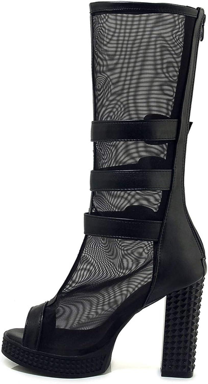 Summer Mesh High Heels Mid Calf Gladiator Sandals Boots Women Platform Thick Heel Shoes