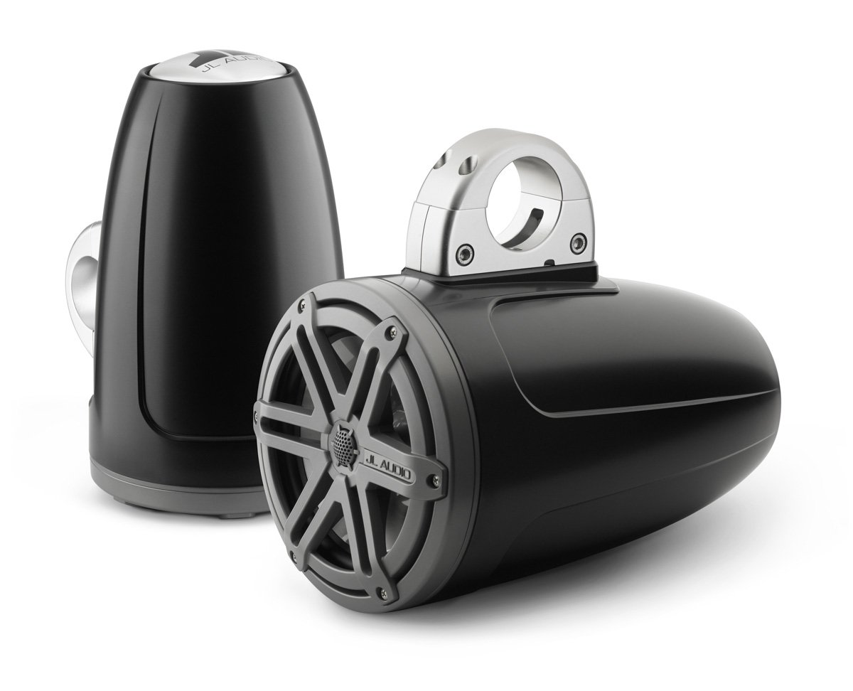 JL Audio MX770-ETXv3-SG-TK 7.7'' MX-Series Tower Coaxial Marine Speakers Satin Black (Titanium Sport Grilles)