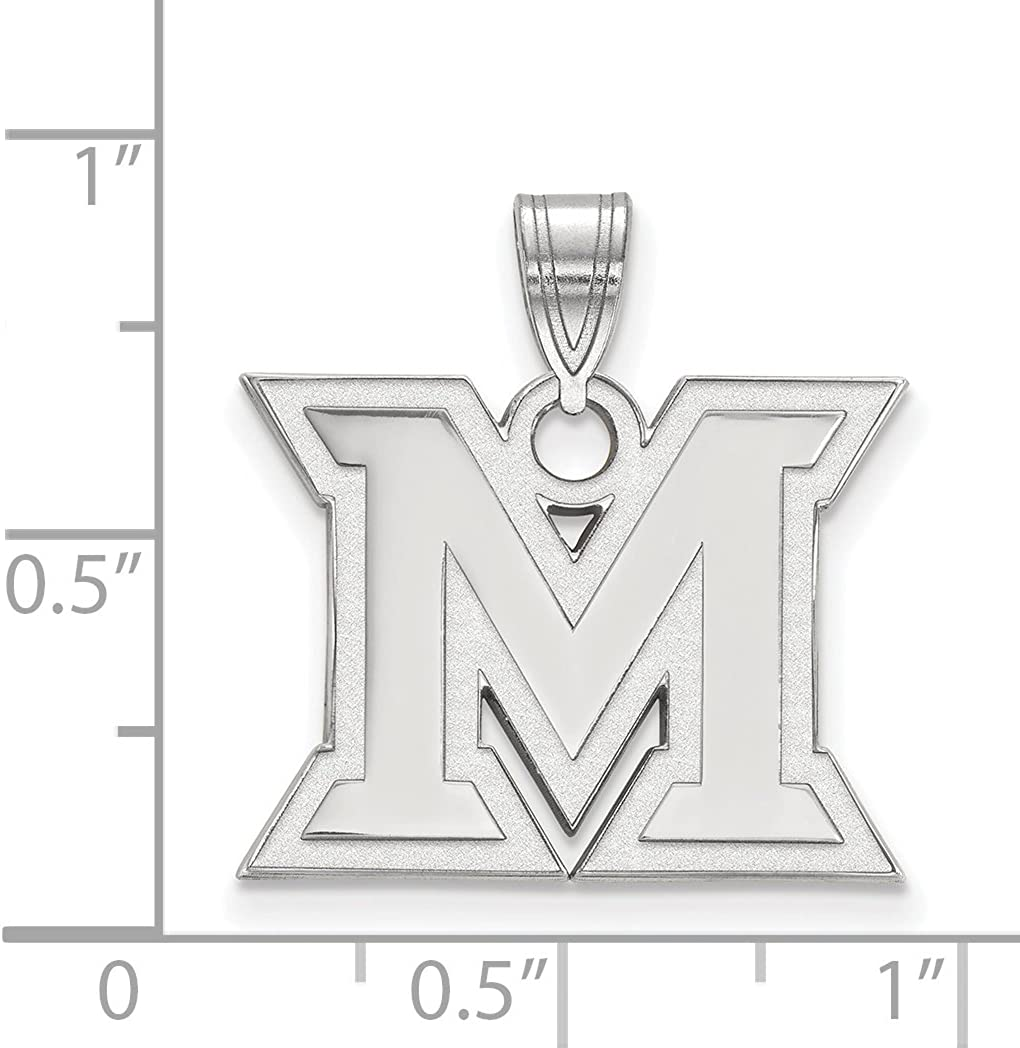Miami University RedHawks School Letter Logo Pendant in Sterling Silver 16x20mm