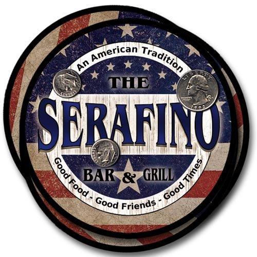 Serafino Family Bar and Grill Rubber Drink Coaster Set - Patriotic Design (Serafino Print)