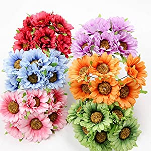 30Pcs 5CM DIY Artificial Flowers Fake Sunflower Scrapbooking Flowers Bouquet For Home Wedding Craft Supplies Decorative Flowers 70