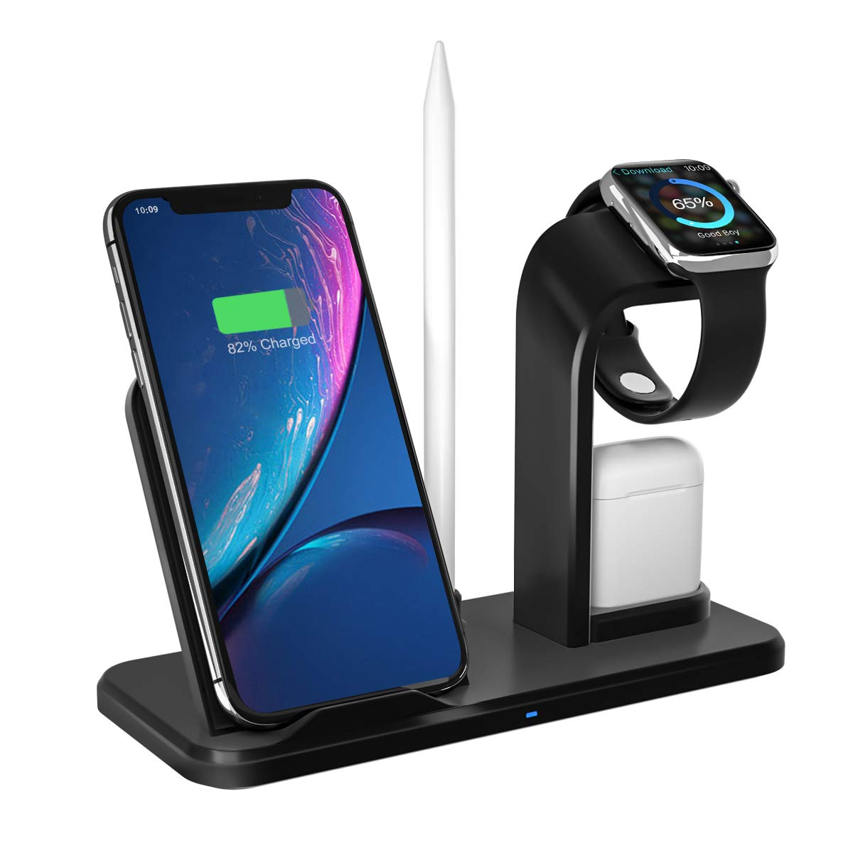 Wireless Charger Stand, APHQUA 3 in 1 Wireless Charging Stand Station for Airpods & Apple iWatch 4/3/2/1, Qi Fast Wireless Charger Fit for iPhone X/XS/XS Max/XR/8/8+ Samsung Galaxy S10/S9/S7