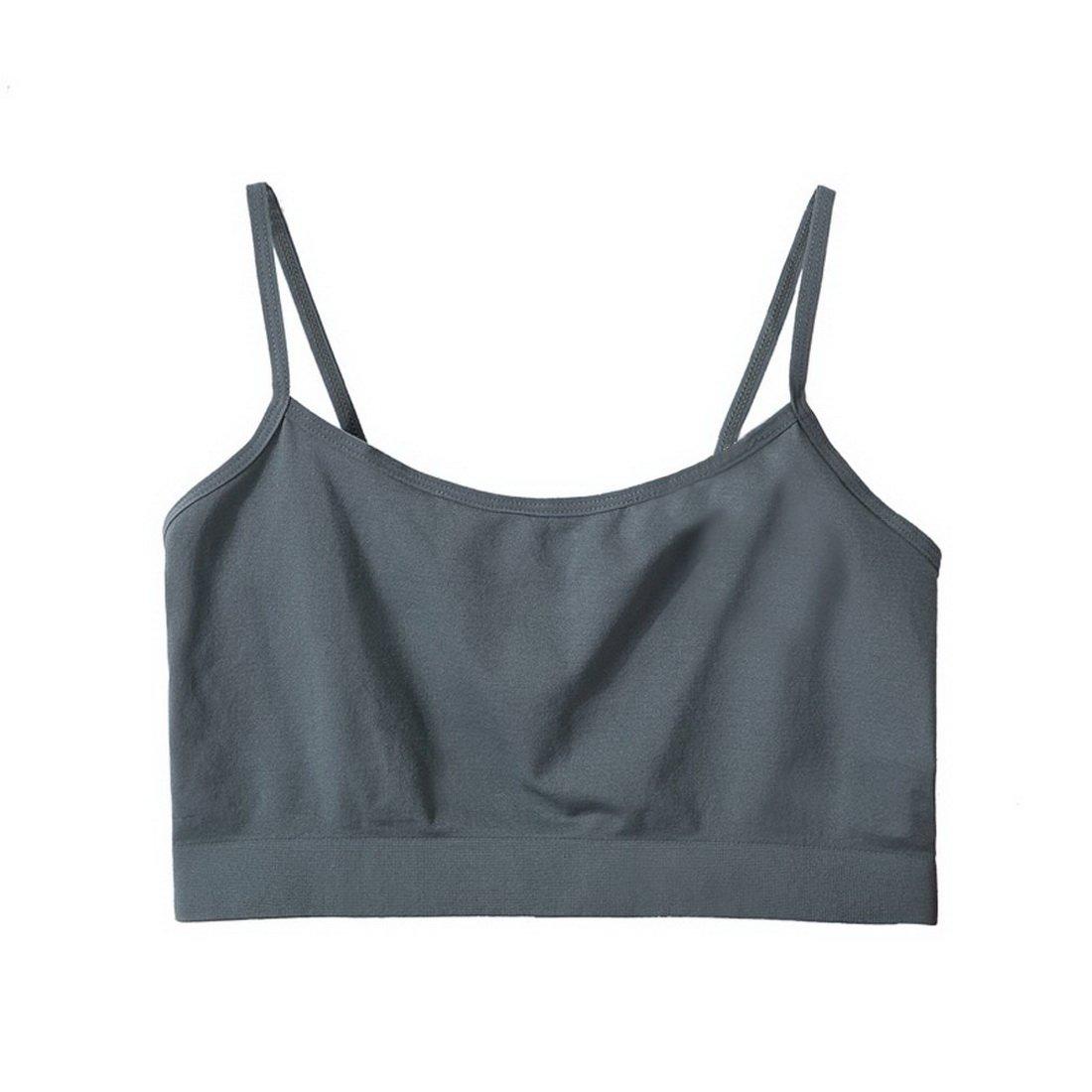 TZSJGL Lady Simple Grey Solid Color Half Cami Basic Seamless Mini Camisole