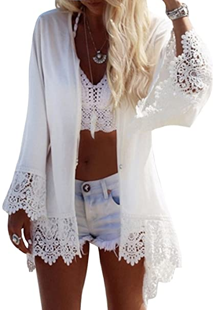 9c32b7a966 Karlywindow Womens Chiffon Lace Bathing Suit Cover Up Crochet Eagle Print  Flare Sleeve Swimwear Cove-ups at Amazon Women's Clothing store:
