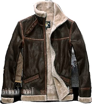 Amazon Com Mister Bear Resident Evil 4 Leon Kennedy S Pu Leather Faux Fur Jackets Cosplay Costume Cosplay Costume Clothing