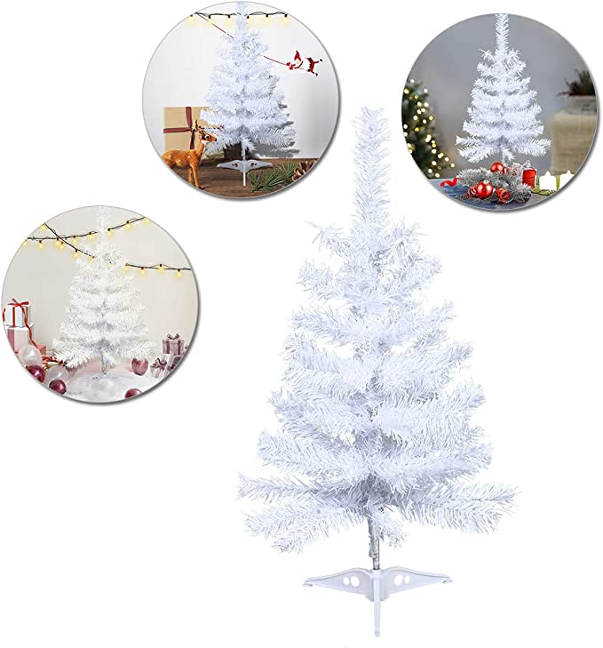 COSTWAY 60cm Table Top Christmas Tree Christmas Indoor Decoration and Gift 2 FT// 60 CM Mini Artificial Green Xmas Tree with Burlap Base