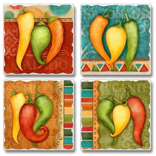 Southwestern Fiesta Peppers Square Assorted Tumbled Stone Coaster Set of 4, Highland ()