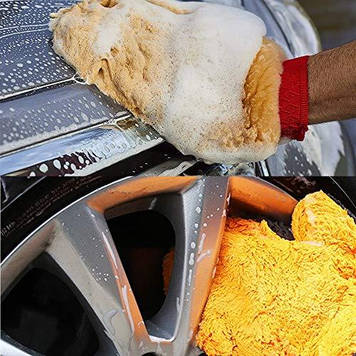 Gracefur Natural Sheepskin Car Wash Mitt , Scratch Free & Lint Free Wash Gloves , Extra Large Size Lambskin Wool Washing Mitt Clean Tools ( Finger 1 Pack )