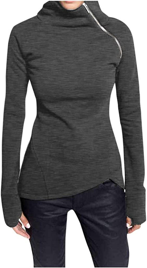 2020 Womens Casual Solid Sweatshirt Turtleneck Zipper Pullover Long Sleeve Tops for Family Women Ladies
