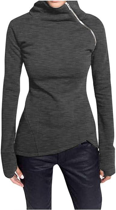 Camiseta Manga Larga Mujer Camisa Basica Blusa con Cuello Redondo Casual Shirt Elegante Lady Tops Women Blouse Solid Color Long Sleeve Pullover High Neck Zip Hoodie: Amazon.es: Ropa y accesorios